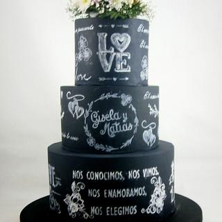 Wedding blackboard cake
