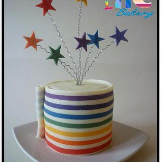 Striped Chocolate Wrapped cake (tutorial link)