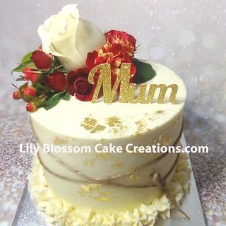 Gold leaf floral cake