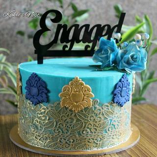 Engagement  cake to match bride's  saree