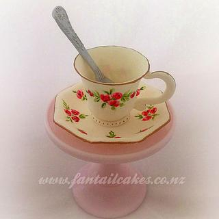 Time for tea (sugar paste cup, saucer and teaspoon)