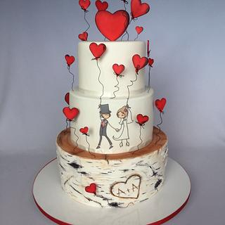 Wedding cake in love :)