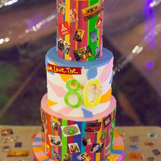 1980's cake for a double 40th birthday