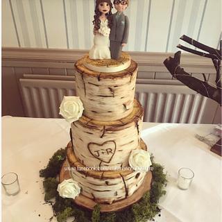 Rustic birchwood wedding cake