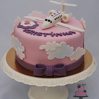 Girls cake with a plane ...