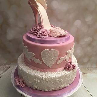 Lace effect shoe cake  - Cake by Elaine - Ginger Cat Cakery