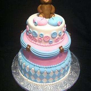 Teddy Bear Baby Shower Reveal Cake