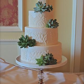 Buttercream piping and succulents