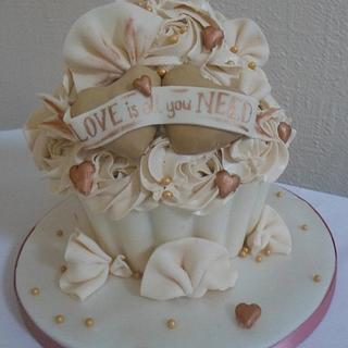 'Love is all you need' Giant cupcake