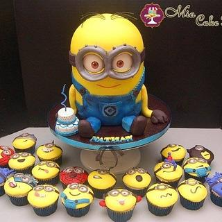 Minion cake and cupcakes! - Cake by Sheila