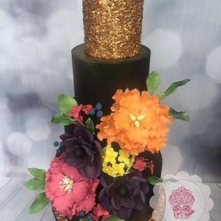 Black and Gold Vibrant Wedding Cake