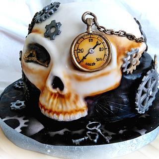 Steampunk skull cake
