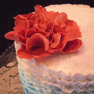 Red White and Blue Ruffle Cake