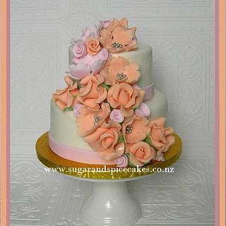 Peaches & Cream Mini Wedding Cake ~