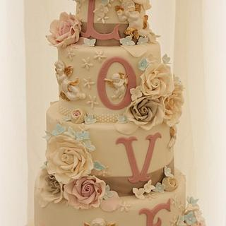 Neutral toned LOVE cake