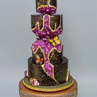 Kinstugi crystal geode wedding cake - Cake by Harshini