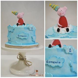 peppa pig celebrating in the clouds