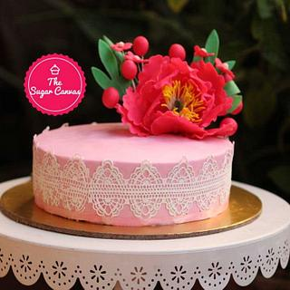 Floral blush  - Cake by TheSugarCanvas