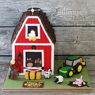 Farm w/Barn 1st Birthday Cake