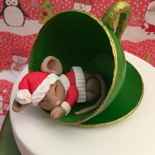 Christmas mouse in a teacup
