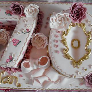 Ladies 70th birthday cake with roses