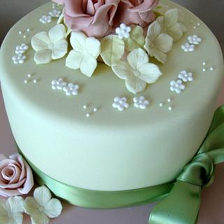 Rose and hydrangea birthday cake