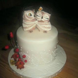 Wedding Mnini Cake with owls - Cake by Eliska