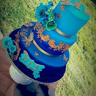 Blue Peacock Cherub Couture Cakes