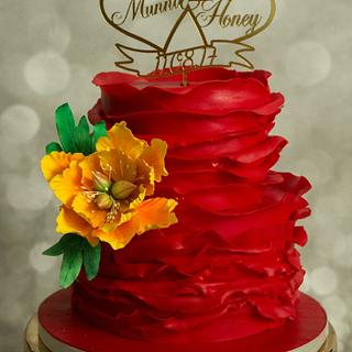 Engagement cake in red