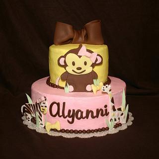 Monkey and Bows - Cake by Jen