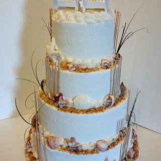 Beach Wedding Cake with Adirondack Chairs