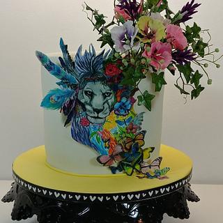 Handpaintet Lion Cake