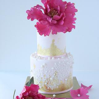 Bright Big Peony Cake