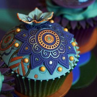 Peacock Cupcakes - Cake by Rebecca Bullough