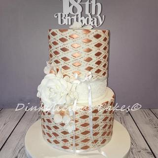 Rose gold and white 18th birthday cake