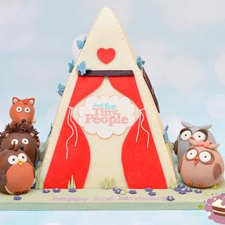 Just For Tiny People second birthday teepee cake