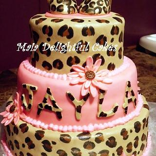 Leopard Print Baby Shower Cake - Cake by Rita's Cakes