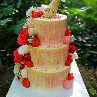 Pink magic cake