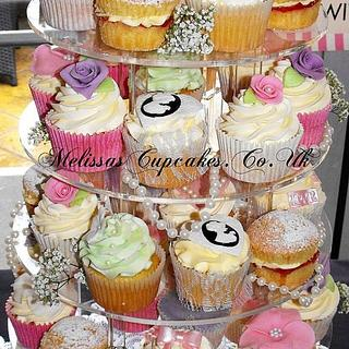 Vintage Style Wedding Cupcake Tower - Cake by Melissa's Cupcakes