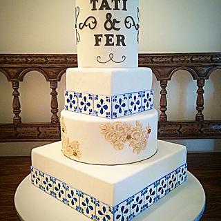 Spanish Azulejo & Lace Wedding Cake - Cake by Cristi
