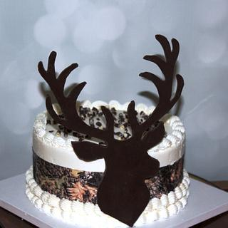 Camouflage Birthday cake with Modeling Chocolate Deer Head