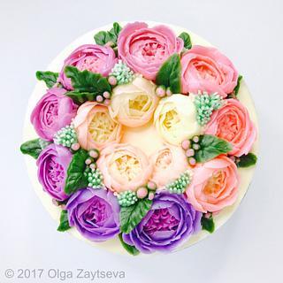 Ombre Roses Buttercream Flower wreath cake  - Cake by Olga Zaytseva