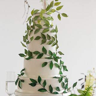 Green ombre leaf wedding cake