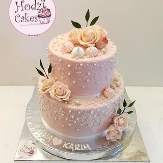 Floral & Elegant Engagement Cake 💍💕