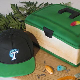 Fishing tackle box and cap - Groom's cake