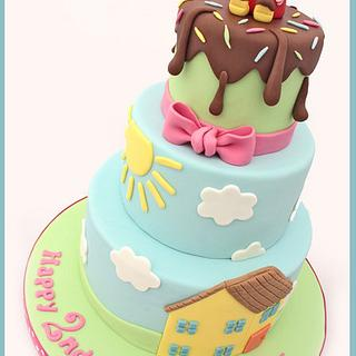 Peppa Pig 3 Tier Birthday Cake