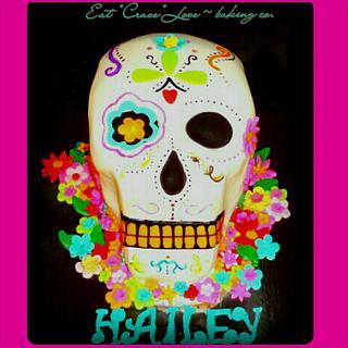 """""""Dia de los Muertos"""" sugar skull birthday cake."""