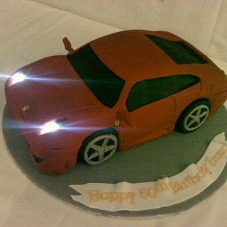 3D Ferrari cake with working lights