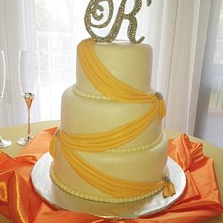 Orange Sash wedding cake