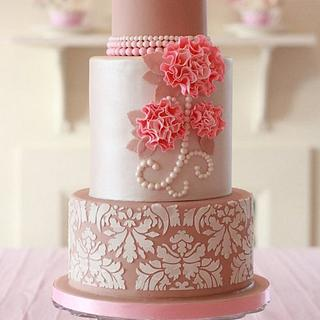 Ecru, Pearls, Damask and Ruffle Flowers - Cake by Clabby
